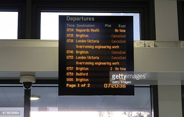 An information board showing train cancellations at Hassocks train station on October 10 2016 in Hassocks West Sussex England London commuters from...