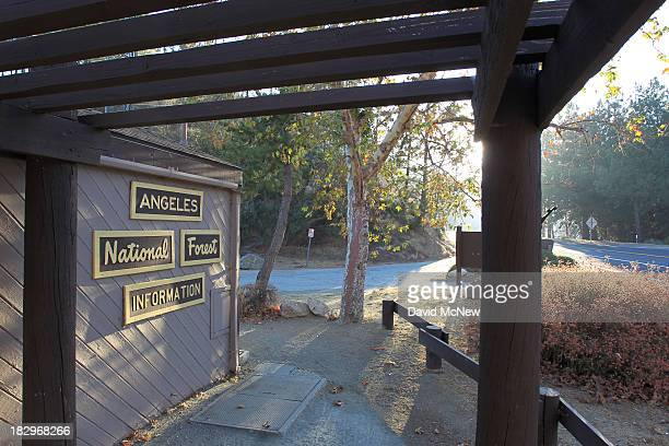 An information booth remains closed in the Angeles National Forest on October 2 2013 in the San Gabriel Mountains northeast of Los Angeles California...