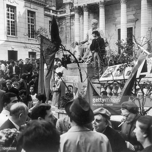 An information meeting on May 18 in the courtyard of the Sorbonne which had been occupied by students since May 13 1968 In front of the PASTEUR...