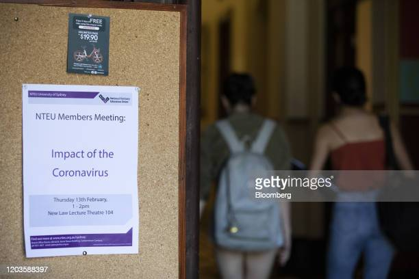 An information notice informs of a 'Impact of the Coronavirus' seminar at the University of Sydney in Sydney, Australia, on Tuesday, Feb. 25, 2020....