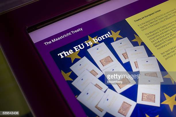 An information panel on the Maastricht Treaty displays on a screen at the Parlamentarium the visitor center of the European Parliament in Brussels...
