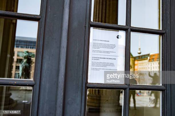 An information shield announcing the closure of the Konzerthaus at Gendarmenmarkt is pictured in Berlin Germany on March 15 2020 After announcing the...