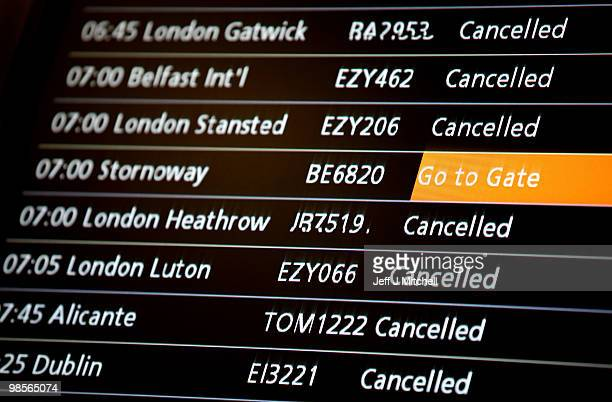An information sign at Glasgow Airport shows a flight leaving for Stornoway on April 20 2010 in Glasgow Scotland Scottish airspace reopened this...