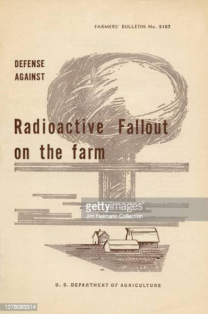 An informational brochure by the U.S. Department of Agriculture shows an illustration of a farm with a giant mushroom cloud behind it, circa 1959.