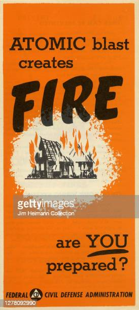 """An informational pamphlet by the Federal Civil Defense Administration shows an illustration of a house on fire with the headline, """"Atomic Blast..."""