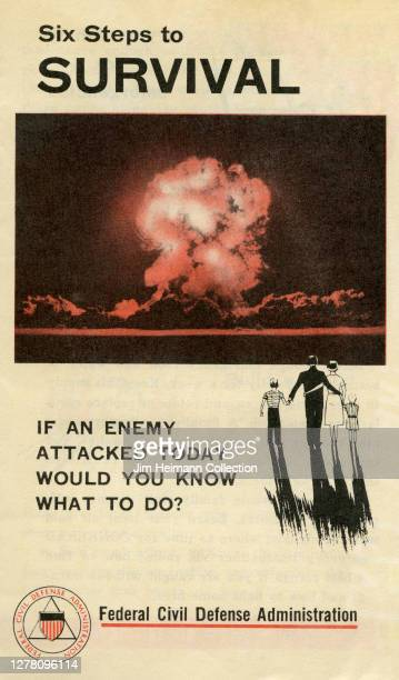 """An informational pamphlet shows a photograph of a mushroom cloud explosion with the title, """"Six Steps to Survival,"""" circa 1957."""