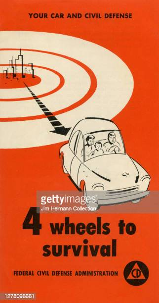 """An informational pamphlet titled """"4 Wheels to Survival"""" shows an illustration of a family in their car driving away from a city that has been..."""