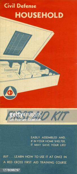 """An informational pamphlet titled """"Civil Defense Household"""" shows an illustration of a first aid kit that people can keep in their home shelter, circa..."""
