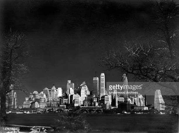 An infra red image of the southern skyline of Manhattan as seen from Fort Jay on Governors Island Governors Island New York mid to late 1930s