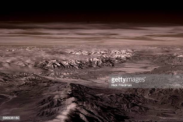 An infrared photograph of snow on the peaks of the Rocky Mountains in Colorado on December 12 2012