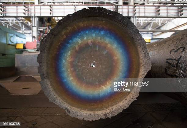 An ingot of titanium alloy sit after melting in a vacuum arc furnace at the VSMPOAVISMA Corp plant in Verkhnyaya Salda Russia on Monday May 14 2018...