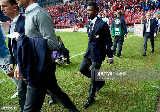 An injured Danny Amankwaa of FC Copenhagen walks in to the bench prior the DBU Pokalen Cup Final match between FC Vestsjalland and FC Copenhagen at...