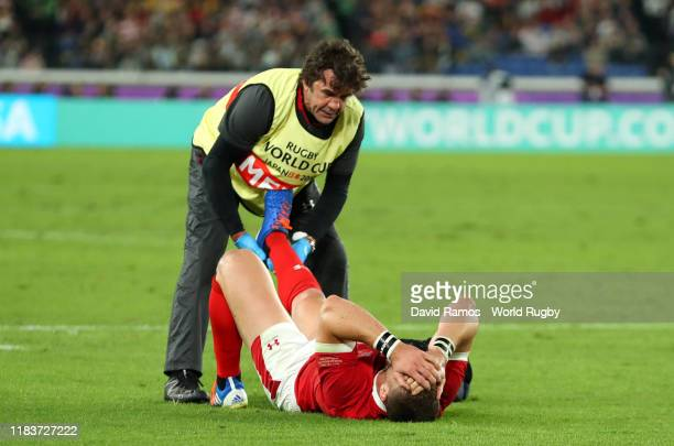An injured George North of Wales is given treatment during the Rugby World Cup 2019 SemiFinal match between Wales and South Africa at International...