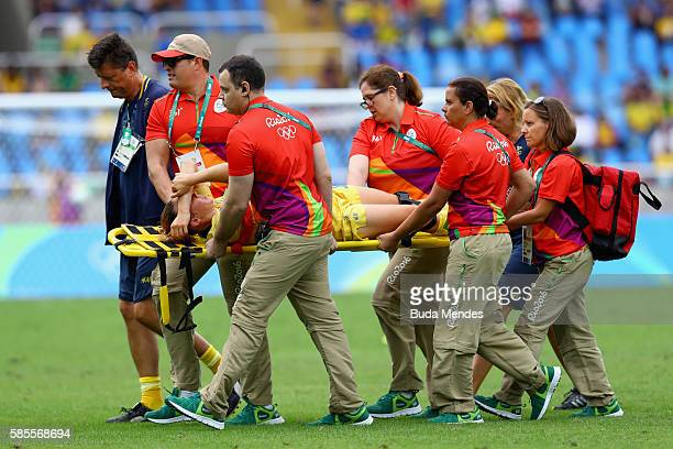 An injured Jessica Samuelsson of Sweden is stretchered off during the Women's Group E first round match between Sweden and South Africa during the...