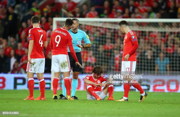 An injured Joe Allen of Wales during the FIFA 2018 World Cup Qualifier between Wales and Republic of Ireland at Cardiff City Stadium on October 9...