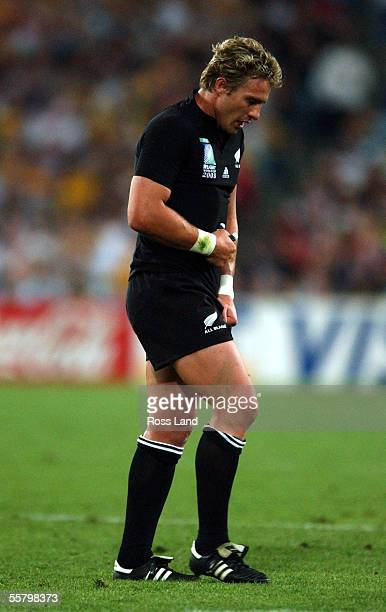An injured Justin Marshall walks off the field during the All Blacks 1022 loss to the Wallabies in the Rugby World Cup 2003 semi final match at the...