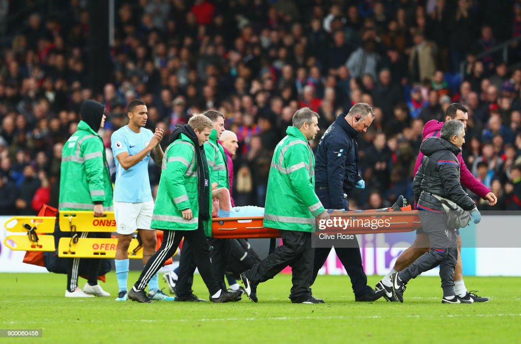 An injured Kevin De Bruyne of Manchester City is stretchered off during the Premier League match between Crystal Palace and Manchester City at Selhurst Park on December 31, 2017 in London, England.