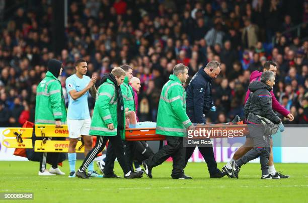 An injured Kevin De Bruyne of Manchester City is stretchered off during the Premier League match between Crystal Palace and Manchester City at...