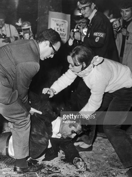 An injured man in the Latin Quarter during the student riots in Paris 25th May 1968
