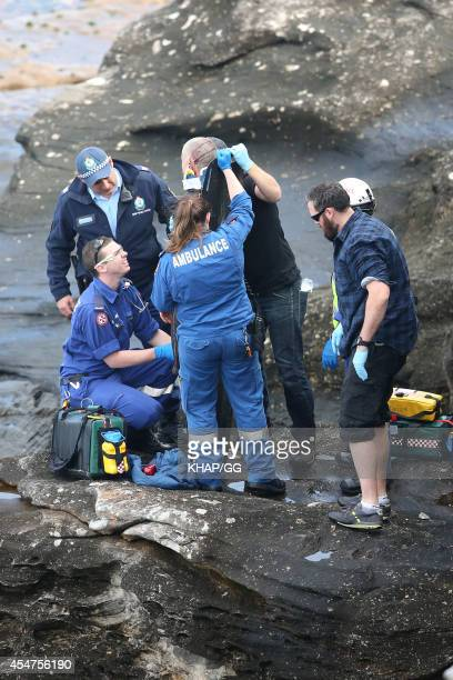 An injured man is attended to by police and ambulance personnel on Bondi Beach before being taken to hospital by helicopter on September 6 2014 in...