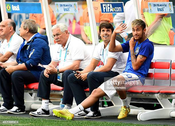 An injured Neymar of Brazil looks on from the bench prior to the 2014 FIFA World Cup Brazil Third Place Playoff match between Brazil and the...