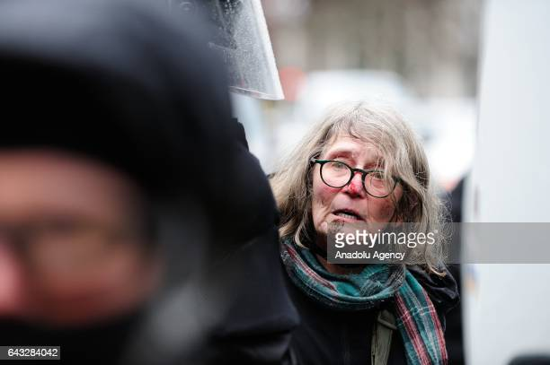 An injured protestor who was arrested by riot police is seen during a protest against President Trump and his policies in a demonstration called Not...
