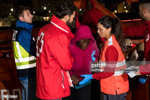 An injured rescued female migrant being transferred from the vessel to the Red Cross tent On 11 November 2018 in Malaga Spain The Maritime Spanish...