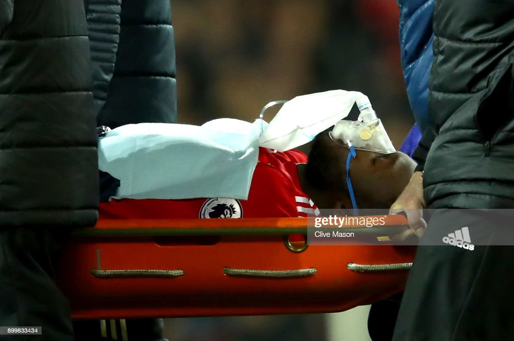 An injured Romelu Lukaku of Manchester United is strechered off during the Premier League match between Manchester United and Southampton at Old Trafford on December 30, 2017 in Manchester, England.