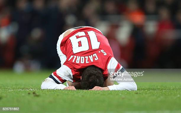 An injured Santi Cazorla of Arsenal