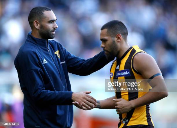 An injured Shaun Burgoyne of the Hawks encourages Jarman Impey of the Hawks as he runs off the ground at half time during the 2018 AFL round 02 match...