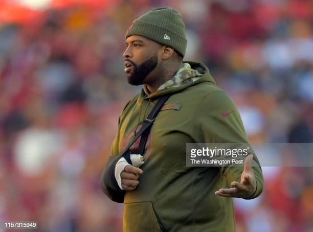 an Injured Washington Redskins offensive tackle Trent Williams during a game between the Washington Redskins and the Atlanta Falcons on November 4 at...