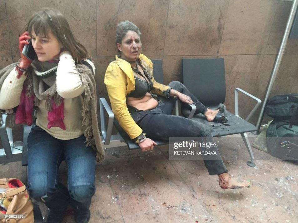 TOPSHOT-BELGIUM-UNREST-BLAST-AIRPORT : News Photo