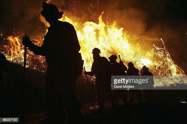 An inmate hand crew walks past flames at the School Canyon Fire on November 18, 2005 in Ventura, California. The late-season wildfire has burned...