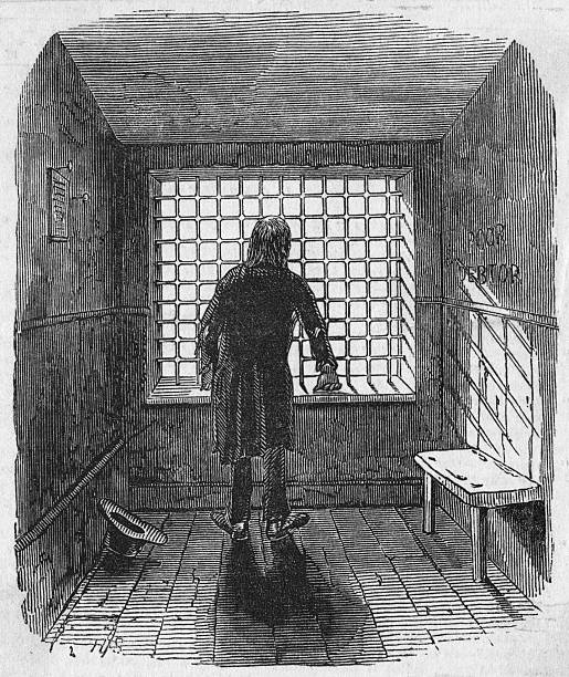 An inmate of 'the grate' at Fleet Prison, a debtors'...