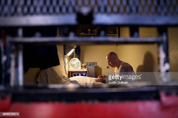 An inmate sits in his cell at San Quentin State Prison's death row on August 15 2016 in San Quentin California San Quentin State Prison opened in...