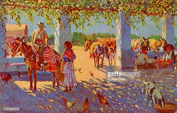 An inn Seville Spain Shows horses and customers drinking outside the inn Illustration by Mariano Bertuchi Spanish artist 6 February 1884 20 June 1955