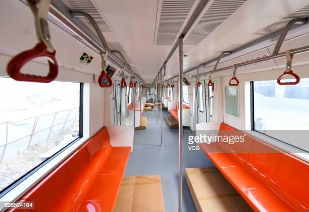 An inner view of carriage of Changchun metro train on December 25 2017 in Changchun Jilin Province of China A Changchun metro line 2 train was...