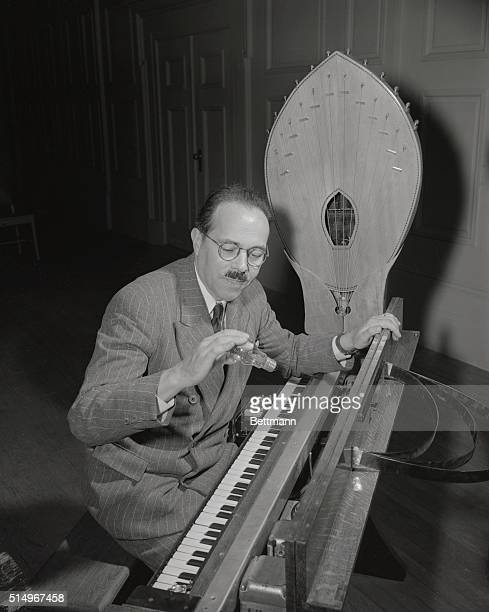 An innovation in musical instruments the ondes Martenot is introduced here by the inventor Maurice Martenot of France Boston's Symphony audiences...