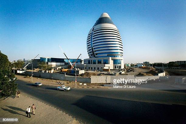 An innovative new building shaped like a boat sail that will host a new hotel built by a Lebanese company is seen on January 14 2007 in Khartoum...