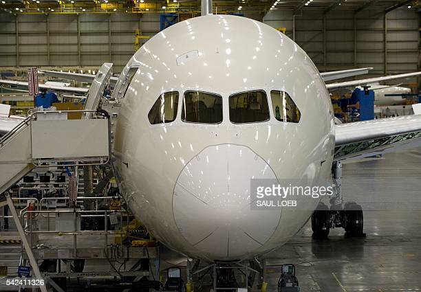 An inproduction Boeing 787 Dreamliner aircraft sits under construction at the Boeing production facilities and factory at Paine Field in Everett...