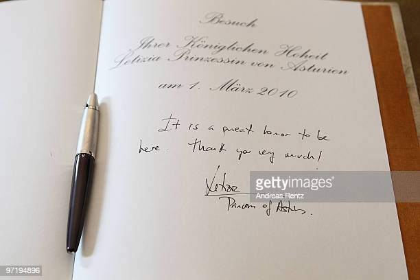 An inscription of Princess Letizia of Spain in the golden book is pictured at Bellevue palace on March 1 2010 in Berlin Germany In the presence of...