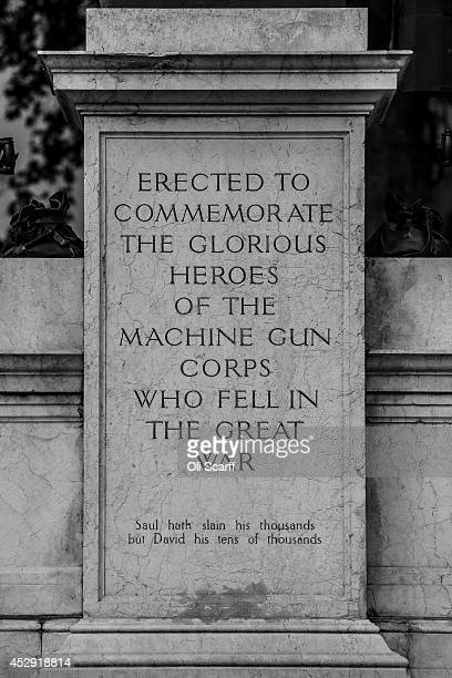 An inscription on the 'Machine Gun Corps Memorial' in Westminster as its listed status has recently been upgraded from Grade II to Grade II on July...