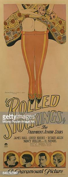 An insert for Richard Rosson's 1927 silent film comedy 'Rolled Stockings' starring James Hall Louise Brooks Richard Arlen and Nancy Phillips