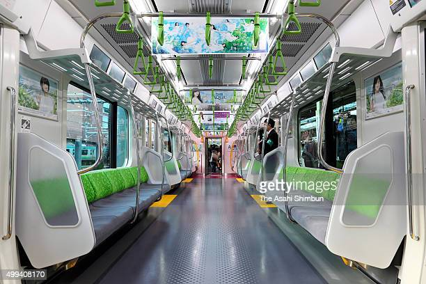 An inside general view of the JR East's new E235 series train on the Yamanote Line on November 30 2015 in Tokyo Japan E235 series train is the first...