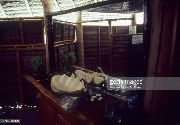 An inside look at a bungalow in May 1980 of Tetiaroa Island