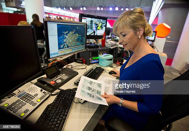 An inside look at the worldwide headquarters of the BBC news at Broadcasting House Weather presenter Carol Kirkwood Photographed for Event magazine...