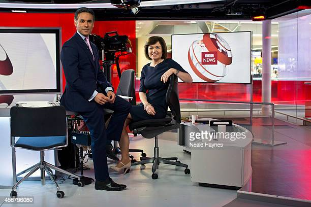 An inside look at the worldwide headquarters of the BBC news at Broadcasting House News presenters Matthew Amroliwala and Jane Hill Photographed for...