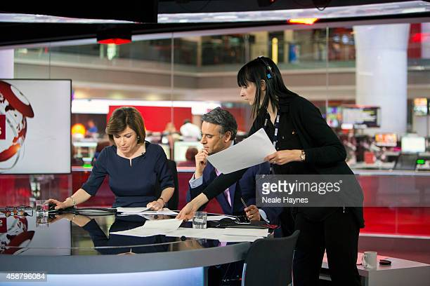 An inside look at the worldwide headquarters of the BBC news at Broadcasting House News presenters Jane Hill and Matthew Amroliwala Photographed for...
