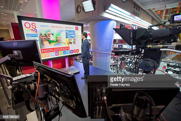An inside look at the worldwide headquarters of the BBC news at Broadcasting House News presenter Ros Atkins Photographed for Event magazine on June...