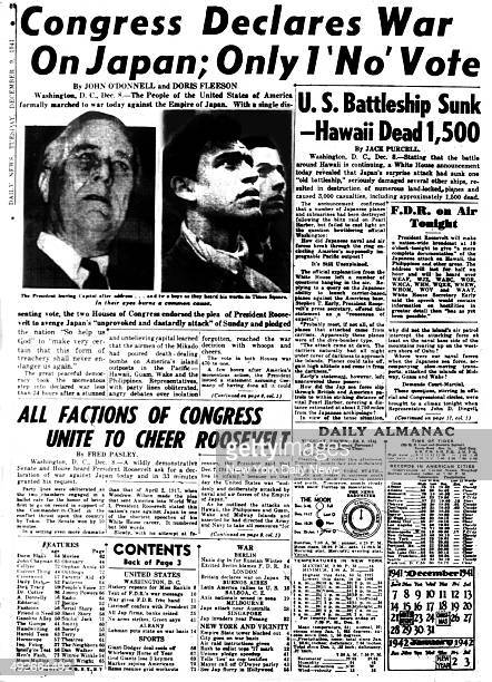 New York Daily News inside page December 9 1941 Congress Declares War on Japan Only 1 'No' Vote
